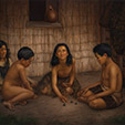 Maori Children Playing Knucklebones